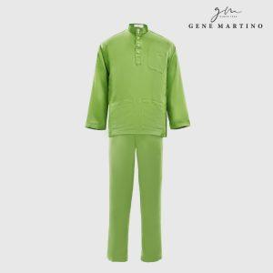 Baju Melayu Premium Dull Satin Classic Fit Apple Green