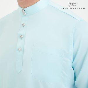 Baju Melayu Premium Dull Satin Classic Fit Baby Blue