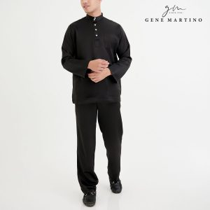 Baju Melayu Premium Dull Satin Classic Fit Black