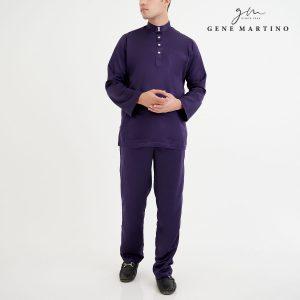 Baju Melayu Premium Dull Satin Classic Fit Brinjal Purple