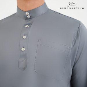 Baju Melayu Premium Dull Satin Classic Fit Dark Grey