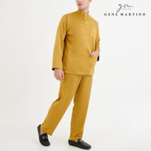 Baju Melayu Premium Dull Satin Classic Fit Flaxen Yellow