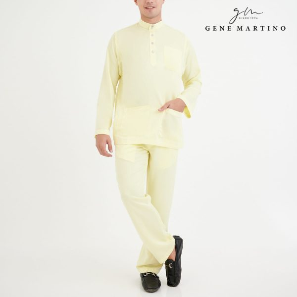 Baju Melayu Premium Dull Satin Classic Fit Fresh Honeydew