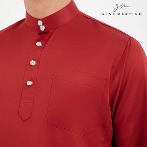 Baju Melayu Premium Dull Satin Classic Fit Garnet Red