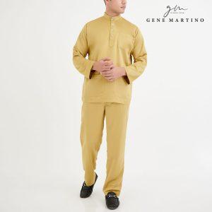 Baju Melayu Premium Dull Satin Classic Fit Golden Rod