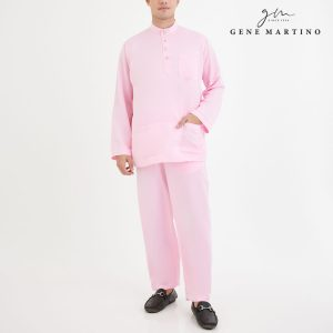 Baju Melayu Premium Dull Satin Classic Fit Light Rose
