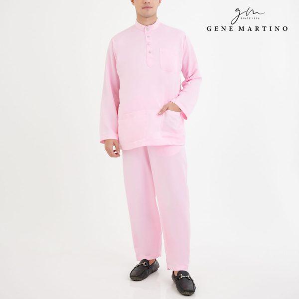 Baju Melayu Premium Dull Satin Classic Fit Light Rose
