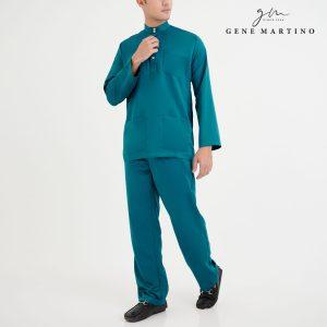 Baju Melayu Premium Dull Satin Classic Fit Mallard Green