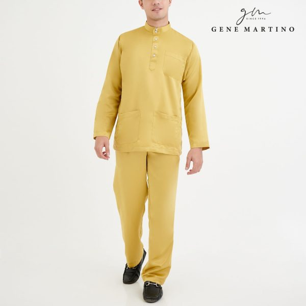 Baju Melayu Premium Dull Satin Classic Fit Mellow Yellow
