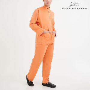 Baju Melayu Premium Dull Satin Classic Fit Melon Orange