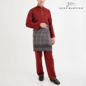 Baju Melayu Premium Dull Satin Classic Fit Old Brick Red
