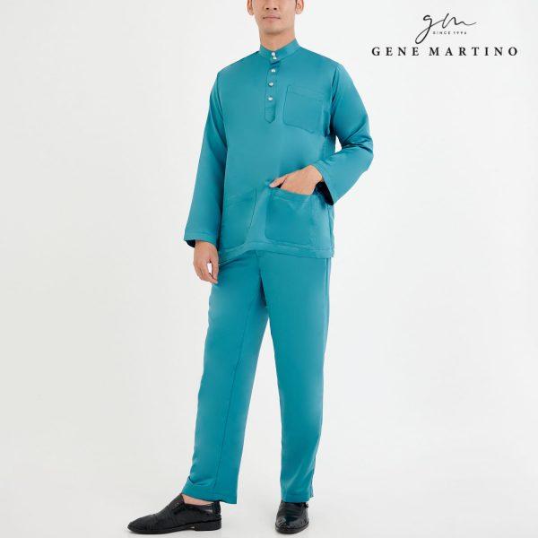 Baju Melayu Premium Dull Satin Classic Fit Sea Green