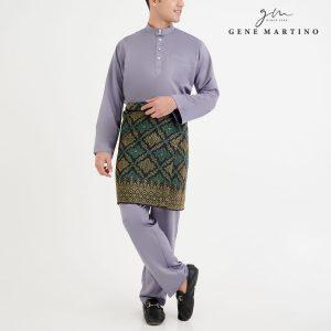 Baju Melayu Premium Dull Satin Classic Fit Smoke Grey