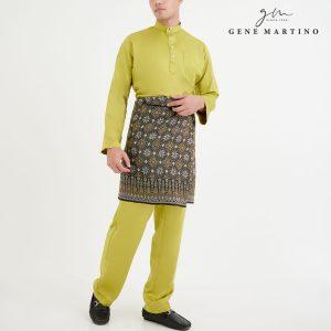 Baju Melayu Premium Dull Satin Classic Fit Yellow Lime Green