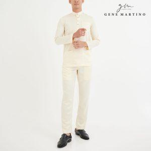 Baju Melayu Premium Dull Satin Slim Fit Beige