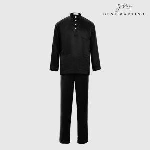 Baju Melayu Premium Dull Satin Slim Fit Black