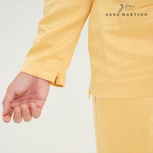 Baju Melayu Premium Dull Satin Slim Fit Lanzone Yellow