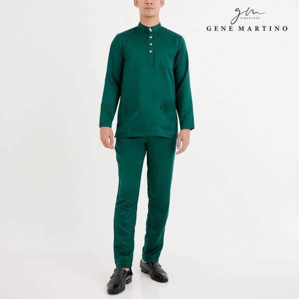 Baju Melayu Premium Dull Satin Slim Fit Mallard Green