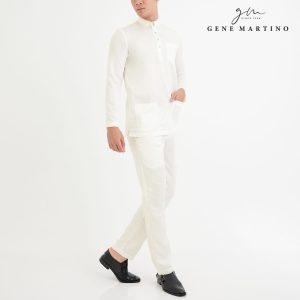 Baju Melayu Premium Dull Satin Slim Fit Off White