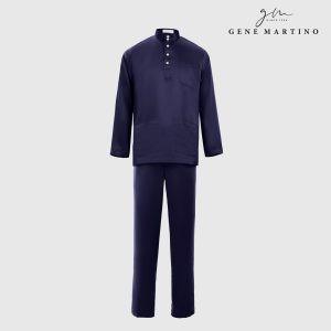 Baju Melayu Premium Dull Satin Slim Fit Violet Blue