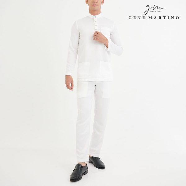Baju Melayu Premium Dull Satin Slim Fit White