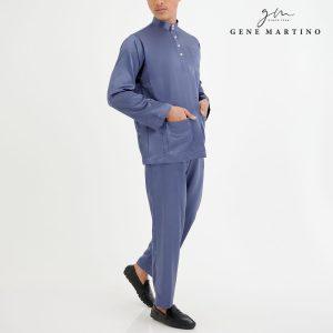 Baju Melayu Satin Classic Fit Blue Grey