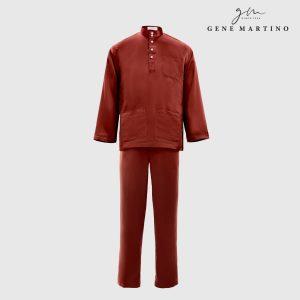 Baju Melayu Satin Classic Fit Burgundy