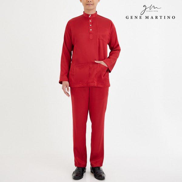 Baju Melayu Satin Classic Fit Cherry Red