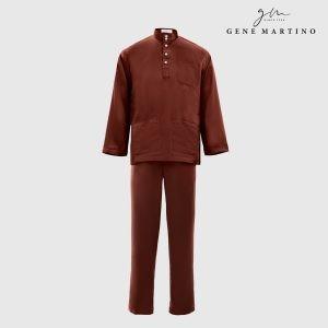 Baju Melayu Satin Classic Fit Chocolate Brown