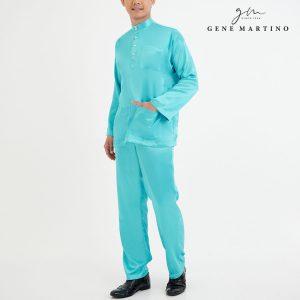 Baju Melayu Satin Classic Fit Cyan