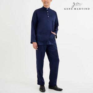 Baju Melayu Satin Classic Fit Dark Blue