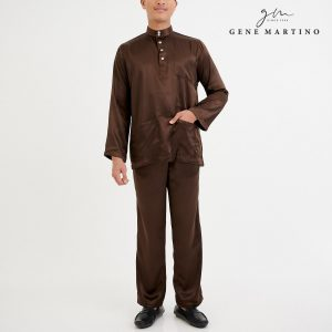 Baju Melayu Satin Classic Fit Dark Brown