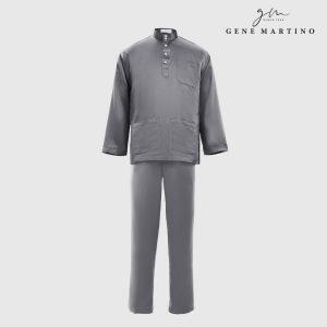 Baju Melayu Satin Classic Fit Dark Grey