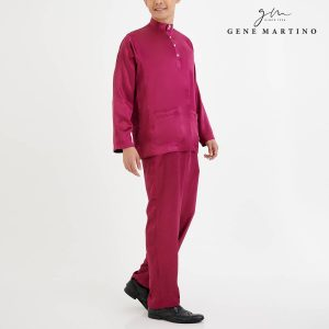 Baju Melayu Satin Classic Fit Dark Magenta