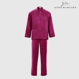 Baju Melayu Satin Classic Fit Dark Mulberry