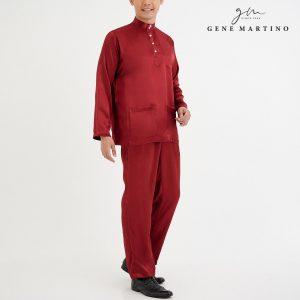 Baju Melayu Satin Classic Fit Garnet Red