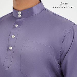 Baju Melayu Satin Classic Fit Grey Smoke
