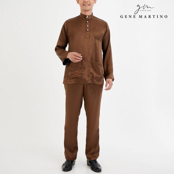 Baju Melayu Satin Classic Fit Ground Coffee