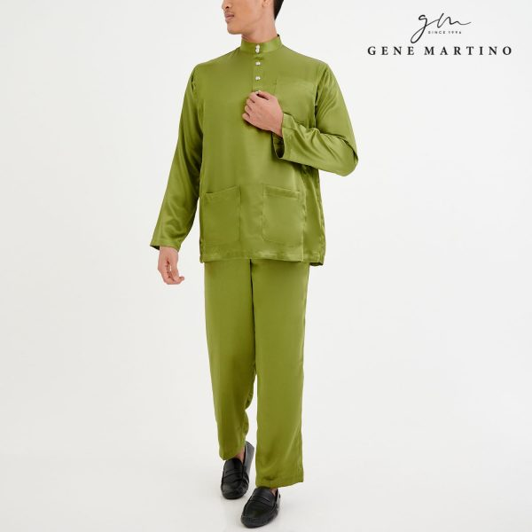 Baju Melayu Satin Classic Fit Light Army Green
