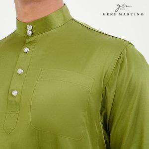 Baju Melayu Satin Classic Fit Light Army Green
