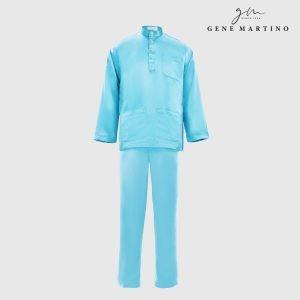 Baju Melayu Satin Classic Fit Light Sky Blue