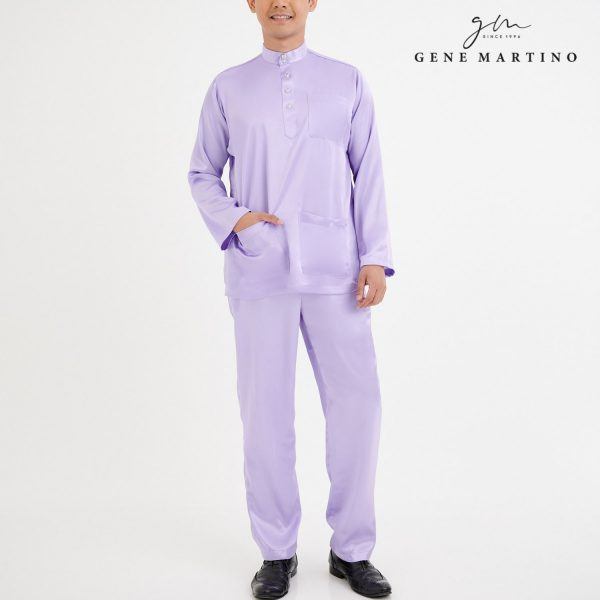 Baju Melayu Satin Classic Fit Light Purple