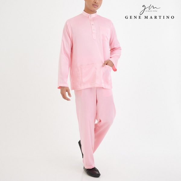 Baju Melayu Satin Classic Fit Light Rose