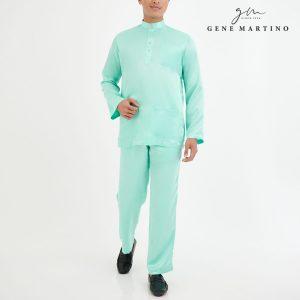 Baju Melayu Satin Classic Fit Mint Green