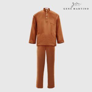 Baju Melayu Satin Classic Fit Nut Brown