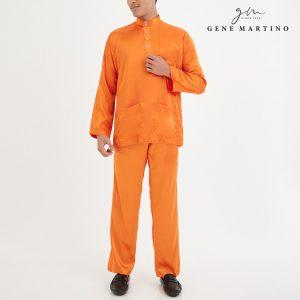 Baju Melayu Satin Classic Fit Orange