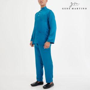Baju Melayu Satin Classic Fit Navy Blue 78-1