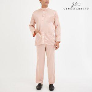 Baju Melayu Satin Classic Fit Pink Cream