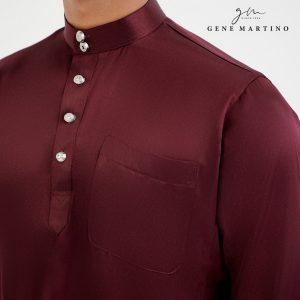 Baju Melayu Satin Classic Fit Plum