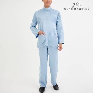 Baju Melayu Satin Classic Fit Powder Blue